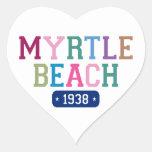 Myrtle Beach 1938 Pegatina De Corazon Personalizadas