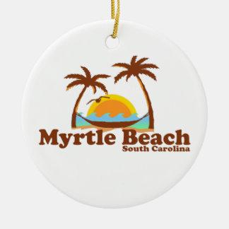 Myrtle Beach. Adorno Navideño Redondo De Cerámica