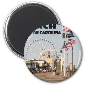 Myrtle Beach Boardwalk South Carolina Vacation BLK Magnet
