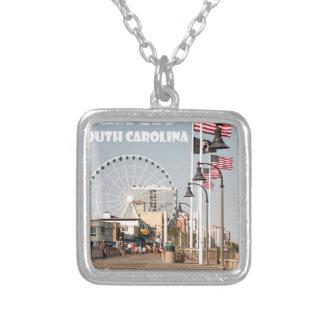 Myrtle Beach Boardwalk South Carolina Vacation WHT Silver Plated Necklace