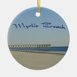 Myrtle Beach Double-Sided Ceramic Round Christmas Ornament