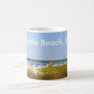 Myrtle Beach, embarcadero de la escena de la playa Taza Básica Blanca