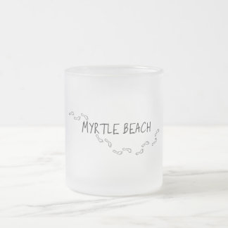 Myrtle Beach Footprints Frosted Glass Coffee Mug