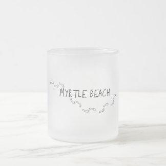 Myrtle Beach Footprints Frosted Glass Coffee Mug