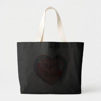 Myrtle Beach Heart Black Impulse Jumbo Tote Bag