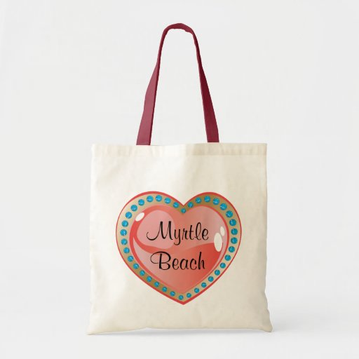 Myrtle Beach Heart Budget Canvas Tote Bag