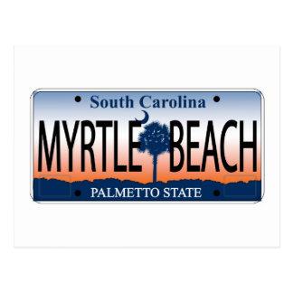 Myrtle Beach License Plate Postcard