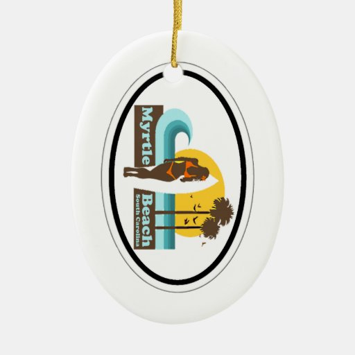 Myrtle Beach. Double-Sided Oval Ceramic Christmas Ornament