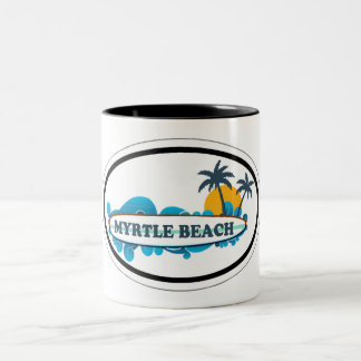 Myrtle Beach Oval Design. Two-Tone Coffee Mug