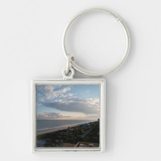 Myrtle Beach, SC Silver-Colored Square Keychain