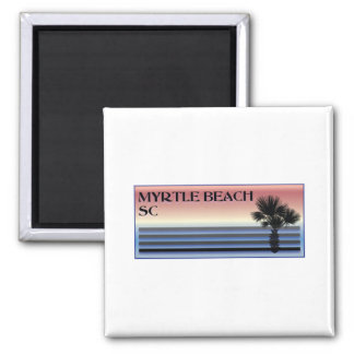 Myrtle Beach SC Palm Tree 2 Inch Square Magnet