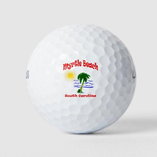 Myrtle Beach SC Palm Tree Water Design Golf Balls | Zazzle.com