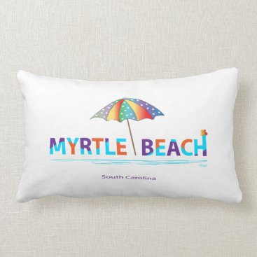 Beach Themed Myrtle Beach, SC with Umbrella Graphic Lumbar Pillow