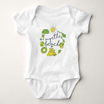 Beach Themed Myrtle Beach Script Baby Bodysuit