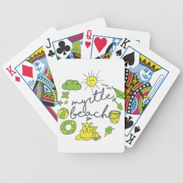 Beach Themed Myrtle Beach Script Bicycle Playing Cards