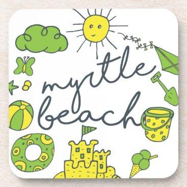 Beach Themed Myrtle Beach Script Coaster
