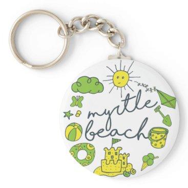 Beach Themed Myrtle Beach Script Keychain
