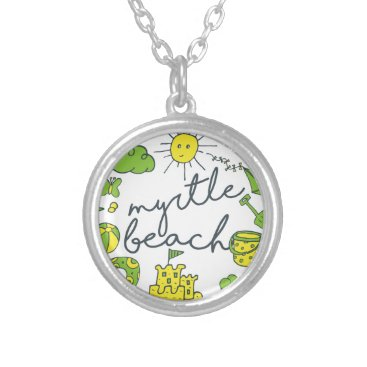 Beach Themed Myrtle Beach Script Silver Plated Necklace