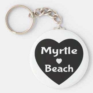 Myrtle Beach South Carolina Heart Black Keychain
