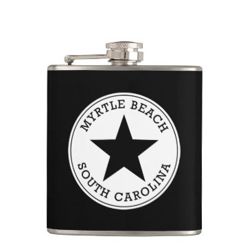 Beach Themed Myrtle Beach South Carolina Hip Flask