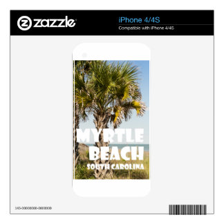 Myrtle Beach South Carolina Palm Tree Vacation ` Decal For iPhone 4