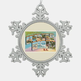 Myrtle Beach South Carolina SC Vintage Postcard- Snowflake Pewter Christmas Ornament