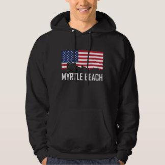 Myrtle Beach South Carolina Skyline American Flag Hoodie