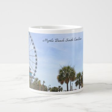 Beach Themed Myrtle Beach South Carollina, Skywheel Large Coffee Mug