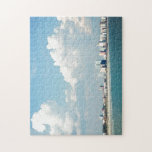 """Myrtle Beach Tourist Scene Jigsaw Puzzle<br><div class=""""desc"""">A snapshot turned into a piece of art.  Beautiful white puffy clouds roll over Myrtle Beach as the ocean rolls over the sand.</div>"""