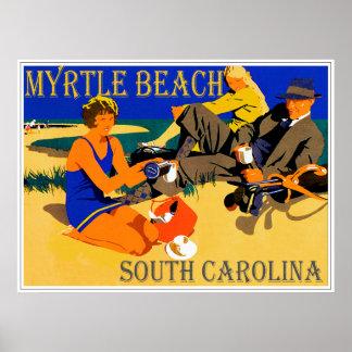 Myrtle Beach Vintage Beach Scene Poster