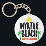 "Myrtle Beach Watercolor Keychain<br><div class=""desc"">A trip to Myrtle Beach is all about making memories,  and this design will help you remember the warm sunny days and cool shade of palm trees all year long. This great watercolor logo features the text &quot;Myrtle Beach,  South Carolina&quot; along with brightly colored designs to match!</div>"