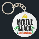 """Myrtle Beach Watercolor Keychain<br><div class=""""desc"""">A trip to Myrtle Beach is all about making memories,  and this design will help you remember the warm sunny days and cool shade of palm trees all year long. This great watercolor logo features the text &quot;Myrtle Beach,  South Carolina&quot; along with brightly colored designs to match!</div>"""