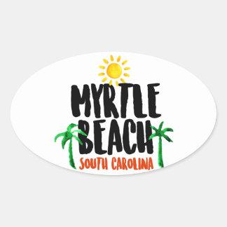 Myrtle Beach Watercolor Oval Sticker