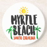 "Myrtle Beach Watercolor Sandstone Coaster<br><div class=""desc"">A trip to Myrtle Beach is all about making memories,  and this design will help you remember the warm sunny days and cool shade of palm trees all year long. This great watercolor logo features the text &quot;Myrtle Beach,  South Carolina&quot; along with brightly colored designs to match!</div>"