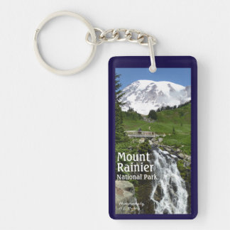 Myrtle Falls (Mount Rainier N.P.) with text Keychain