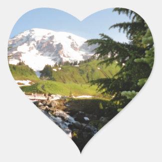 Myrtle Falls, Mount Rainier Heart Stickers