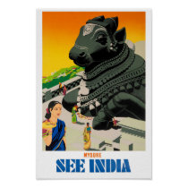 Mysore India Vintage Travel Poster Restored