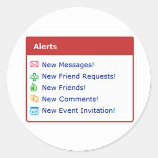 Myspace alerts online funny parody classic round sticker