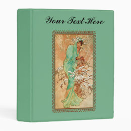 Mysterious Art deco Woman in snow Covered Tree Mini Binder