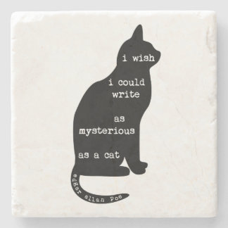 Mysterious as a Cat Edgar Allan Poe Quote Stone Beverage Coaster