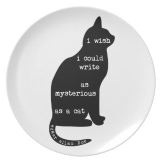 Mysterious as a Cat Edgar Allan Poe Quote Party Plate