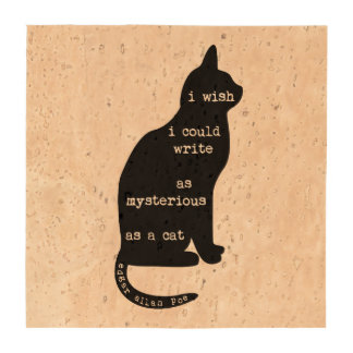 Mysterious as a Cat Edgar Allan Poe Quote Beverage Coaster