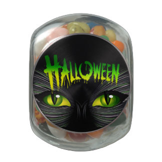 Mysterious Black Cat Halloween Jelly Belly Candy Jar