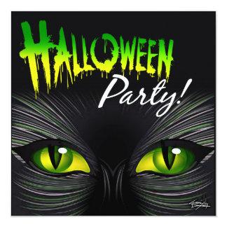 Mysterious Black Cat Halloween Card