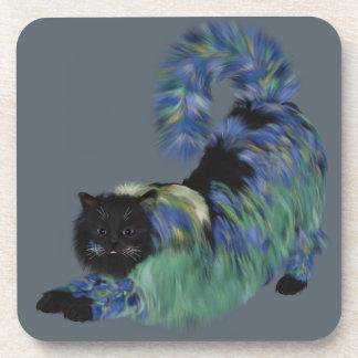 Mysterious Black Garden Kitty Drink Coaster