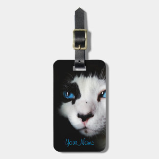 Mysterious Blue Eyed Tuxedo Cat Luggage Tag