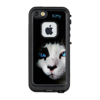 Mysterious Blue Eyed Tuxedo Cat *Personalize* LifeProof FRĒ iPhone SE/5/5s Case