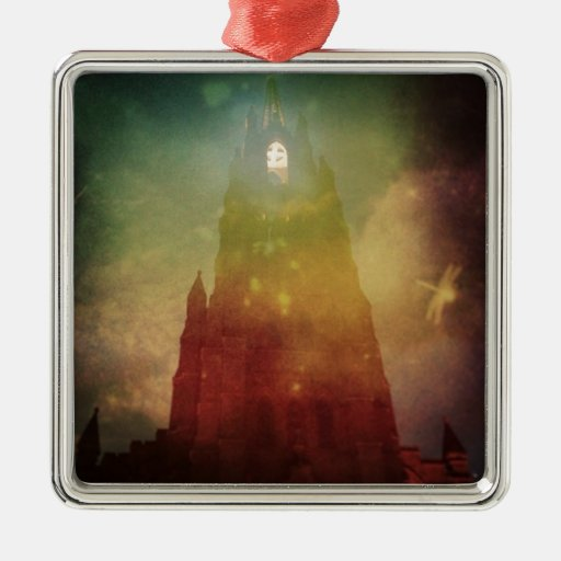 Mysterious Cathedral Square Metal Christmas Ornament