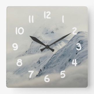 Mysterious Chugach Peaks Square Wall Clock