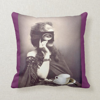 Mysterious Coffee Drinker Throw Pillow